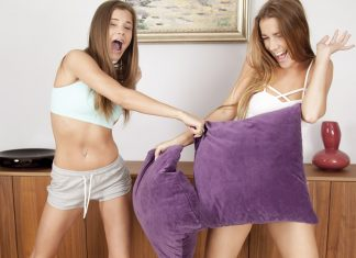 Pillow Fight Turns to Group Sex
