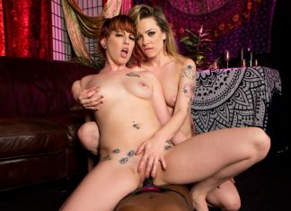 All Girl Threesome Strap-on POV