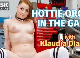 Hottie orgasms in the garage